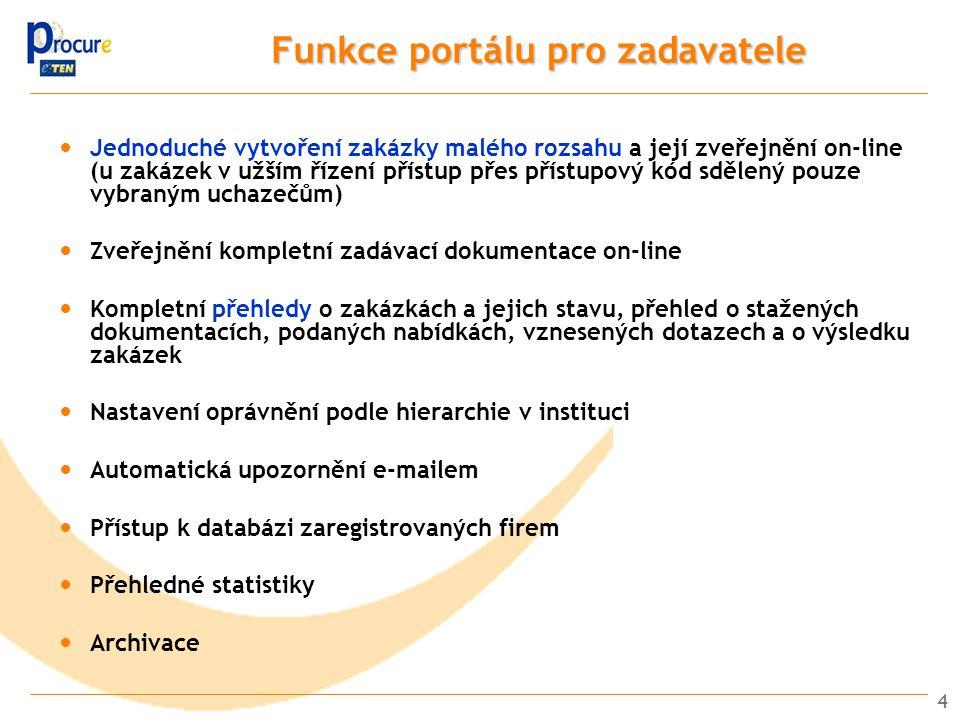 4 Funkce portálu pro zadavatele Jednoduché vytvoření zakázky malého rozsahu a její zveřejnění on-line (u zakázek v užším řízení přístup přes přístupový kód sdělený pouze vybraným uchazečům) Zveřejnění kompletní zadávací dokumentace on-line Kompletní přehledy o zakázkách a jejich stavu, přehled o stažených dokumentacích, podaných nabídkách, vznesených dotazech a o výsledku zakázek Nastavení oprávnění podle hierarchie v instituci Automatická upozornění e-mailem Přístup k databázi zaregistrovaných firem Přehledné statistiky Archivace