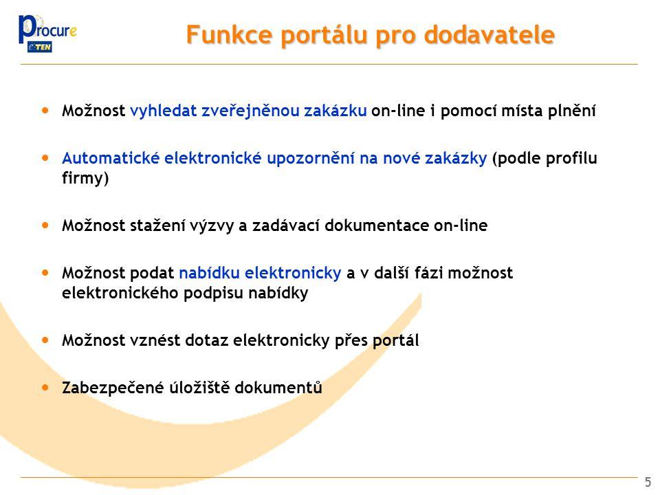 5 Funkce portálu pro dodavatele Možnost vyhledat zveřejněnou zakázku on-line i pomocí místa plnění Automatické elektronické upozornění na nové zakázky