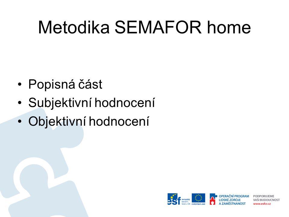 Metodika SEMAFOR home Popisná část Subjektivní hodnocení Objektivní hodnocení