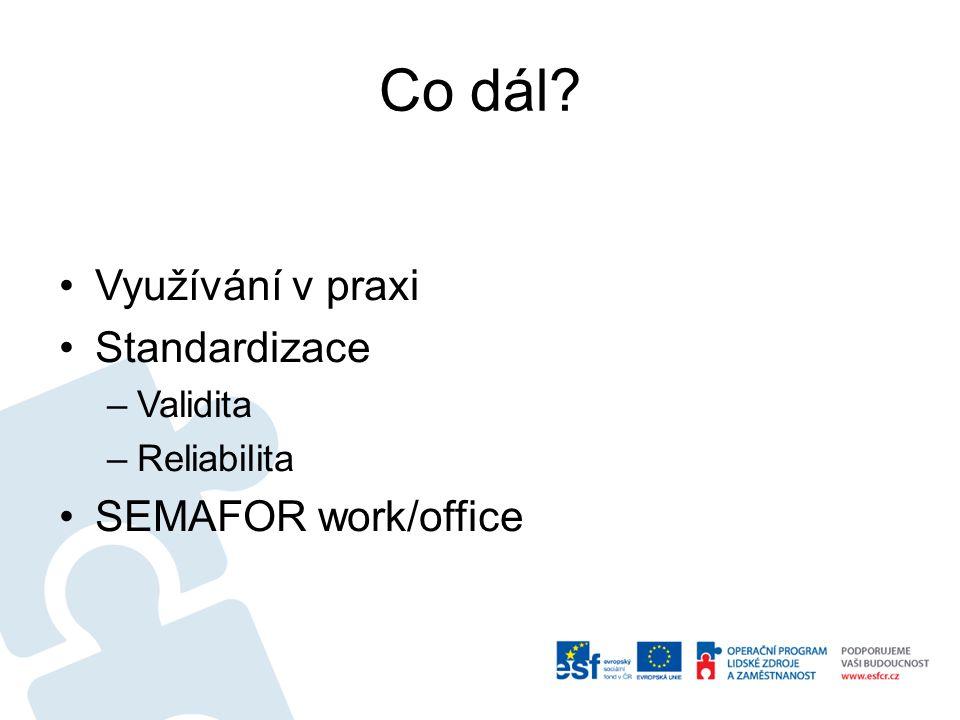 Co dál? Využívání v praxi Standardizace –Validita –Reliabilita SEMAFOR work/office