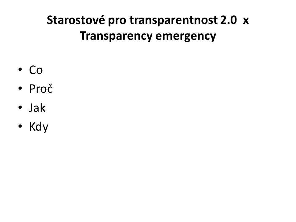 Starostové pro transparentnost 2.0 x Transparency emergency Co Proč Jak Kdy