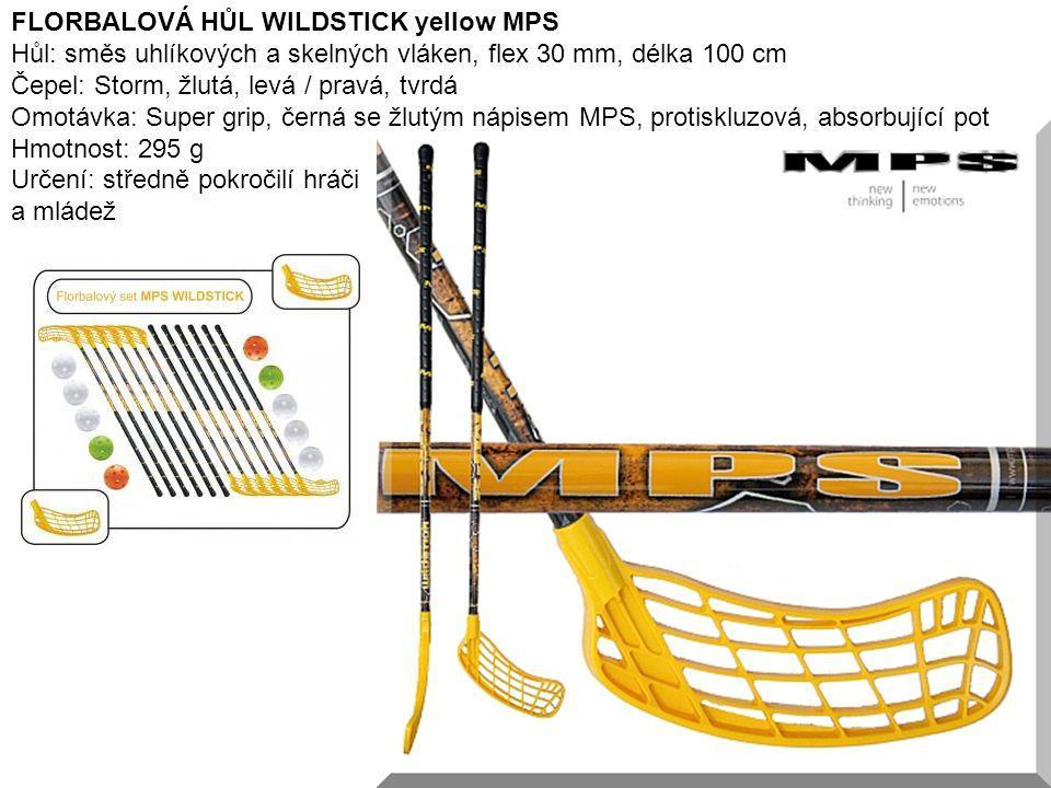 10 FLORBALOVÁ HŮL WILDSTICK yellow MPS Hůl: směs uhlíkových a skelných vláken, flex 30 mm, délka 100 cm Čepel: Storm, žlutá, levá / pravá, tvrdá Omotá