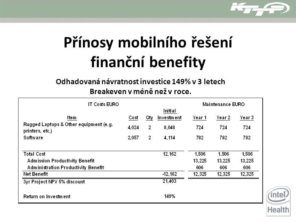 Přínosy mobilního řešení finanční benefity Odhadovaná návratnost investice 149% v 3 letech Breakeven v méně než v roce.