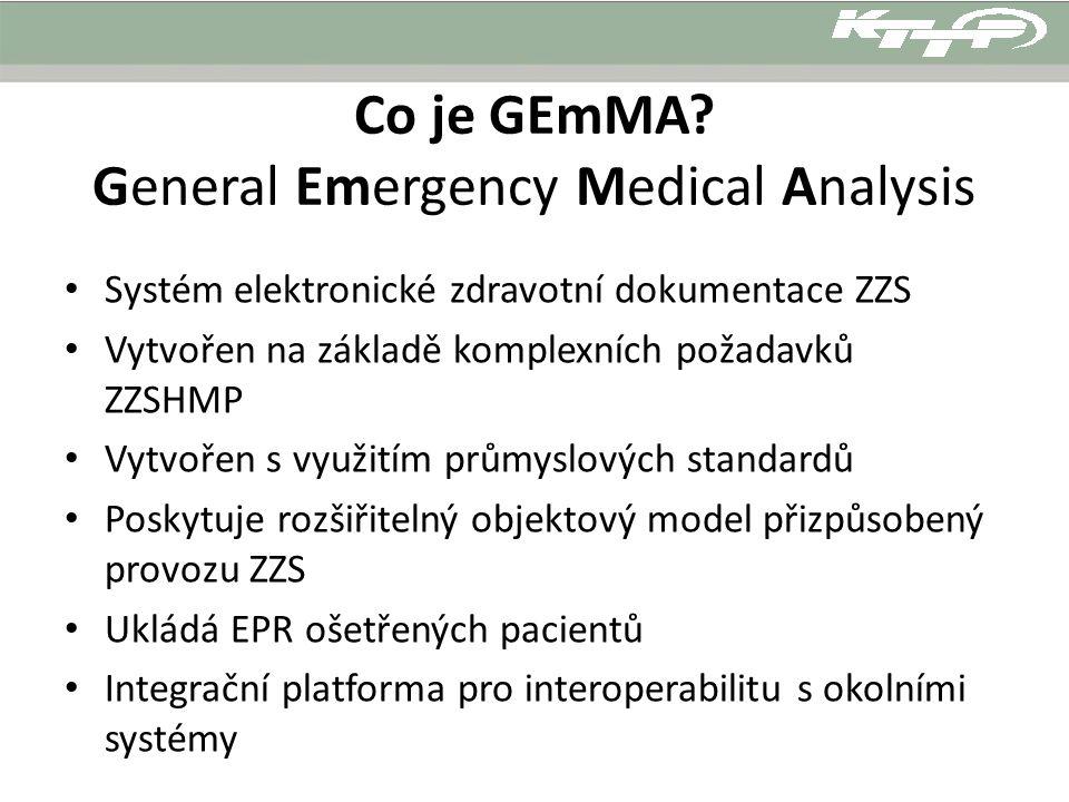 Co je GEmMA? General Emergency Medical Analysis Systém elektronické zdravotní dokumentace ZZS Vytvořen na základě komplexních požadavků ZZSHMP Vytvoře