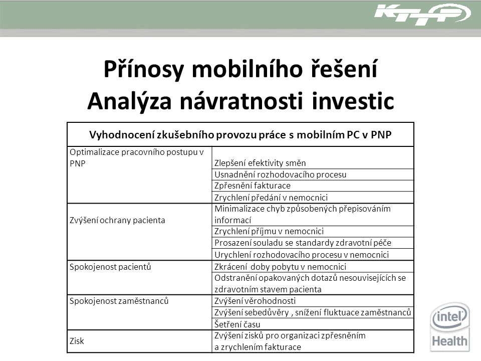 Přínosy mobilního řešení Analýza návratnosti investic Vyhodnocení zkušebního provozu práce s mobilním PC v PNP Optimalizace pracovního postupu v PNPZl