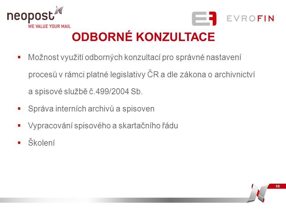 ODBORNÉ KONZULTACE  Možnost využití odborných konzultací pro správné nastavení procesů v rámci platné legislativy ČR a dle zákona o archivnictví a sp
