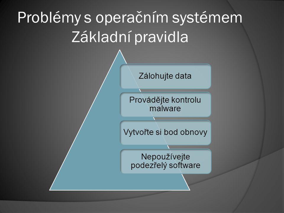 Problémy s operačním systémem Základní pravidla Zálohujte data Provádějte kontrolu malware Vytvořte si bod obnovy Nepoužívejte podezřelý software