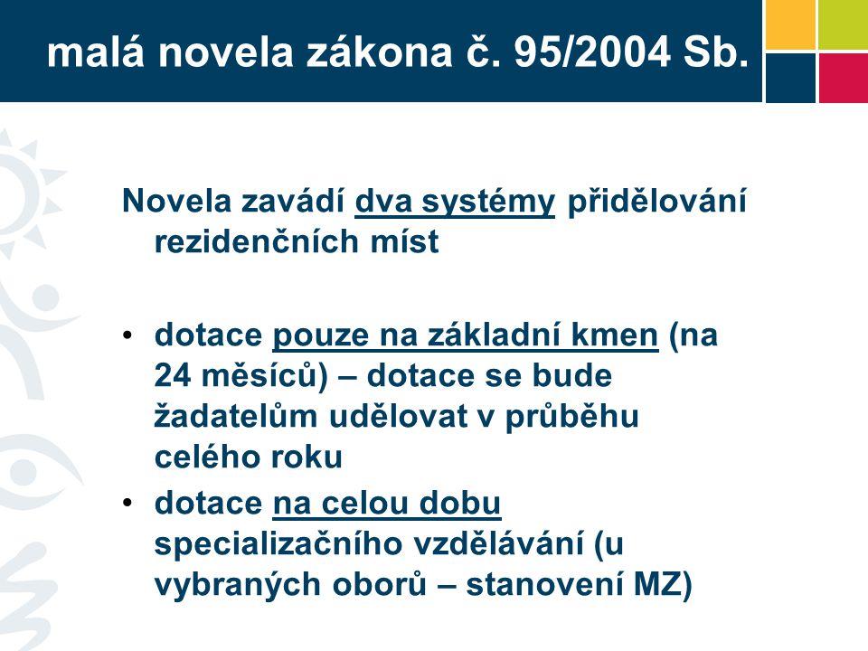 malá novela zákona č. 95/2004 Sb. Novela zavádí dva systémy přidělování rezidenčních míst dotace pouze na základní kmen (na 24 měsíců) – dotace se bud
