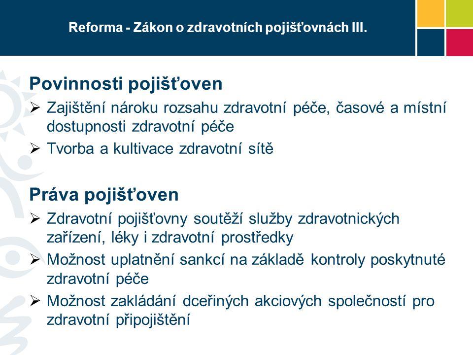 Reforma - Zákon o zdravotních pojišťovnách III.