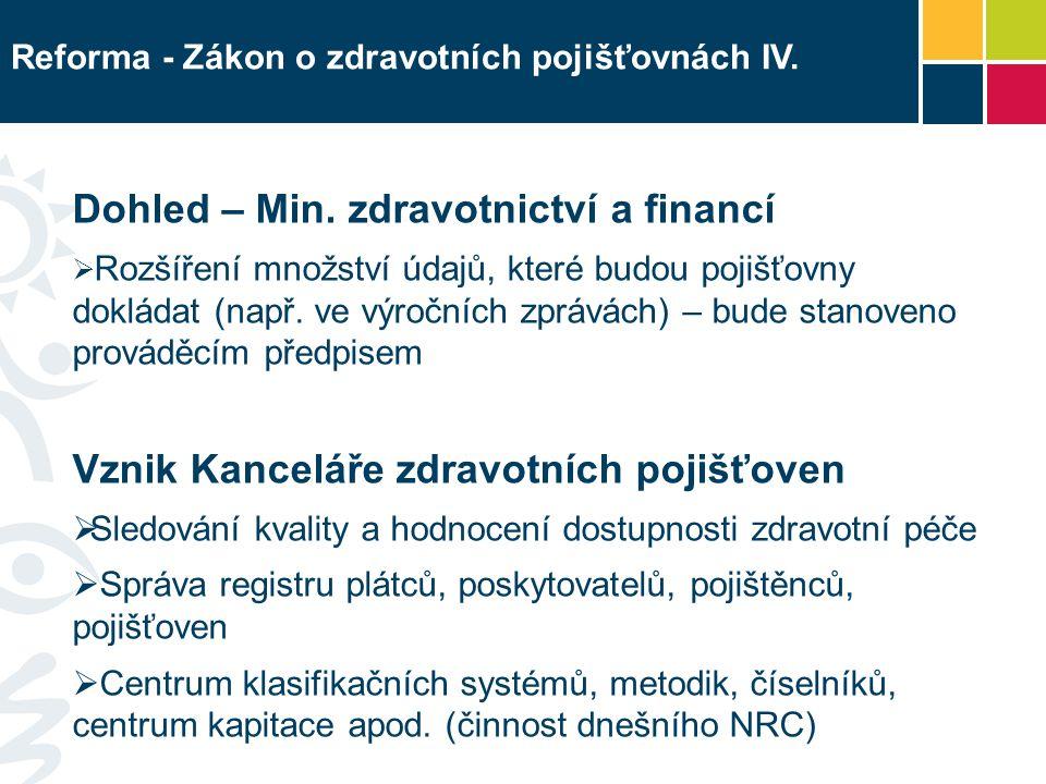 Reforma - Zákon o zdravotních pojišťovnách IV. Dohled – Min.