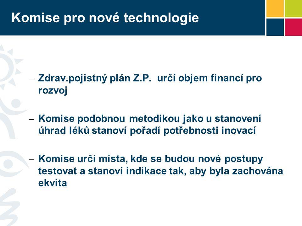 Komise pro nové technologie – Zdrav.pojistný plán Z.P. určí objem financí pro rozvoj – Komise podobnou metodikou jako u stanovení úhrad léků stanoví p
