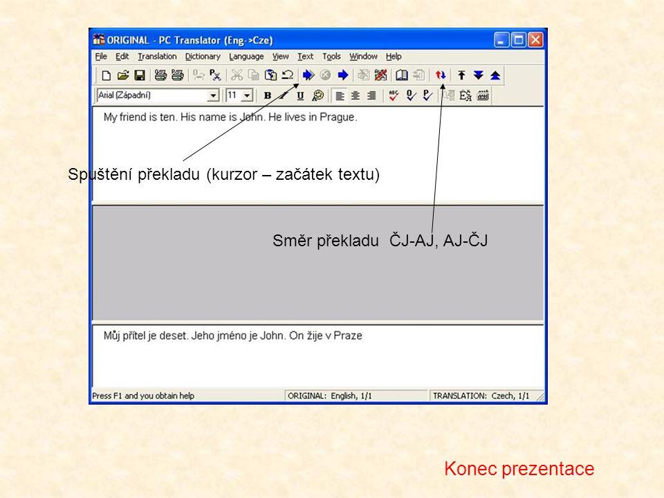 Směr překladu ČJ-AJ, AJ-ČJ Spuštění překladu (kurzor – začátek textu) Konec prezentace