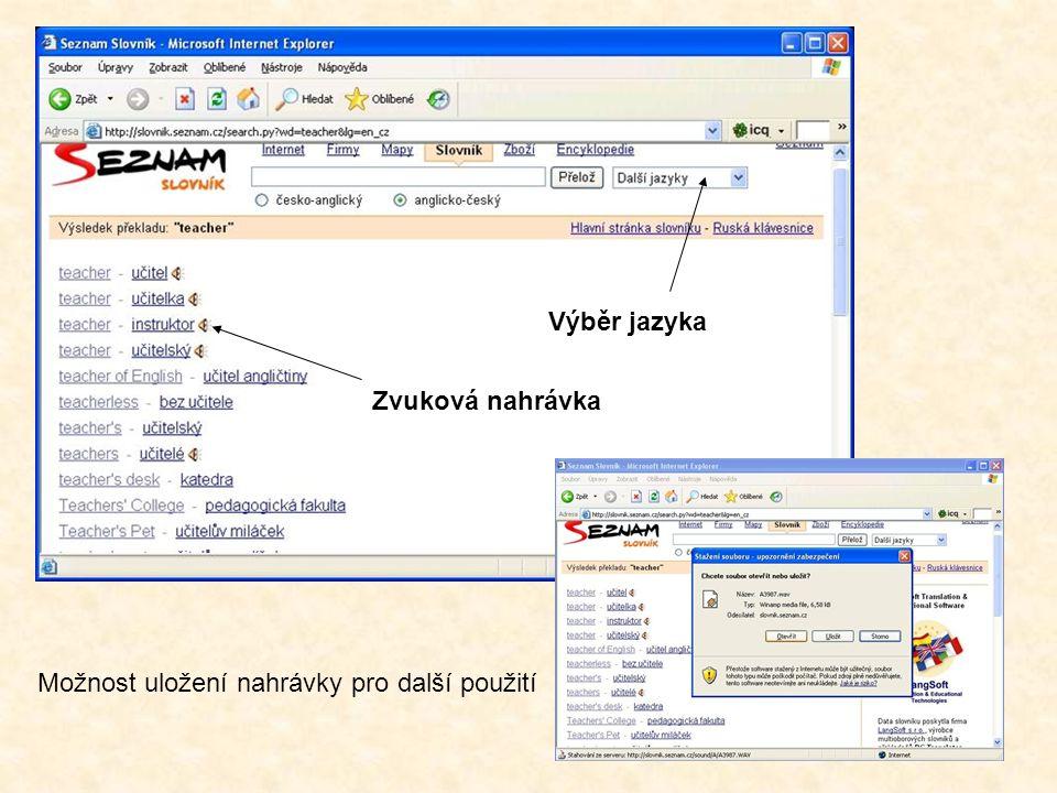 www.centrum.cz Volba jazyka Menu - Slovníky