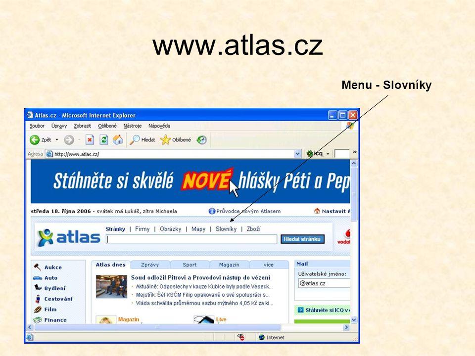 www.atlas.cz Menu - Slovníky