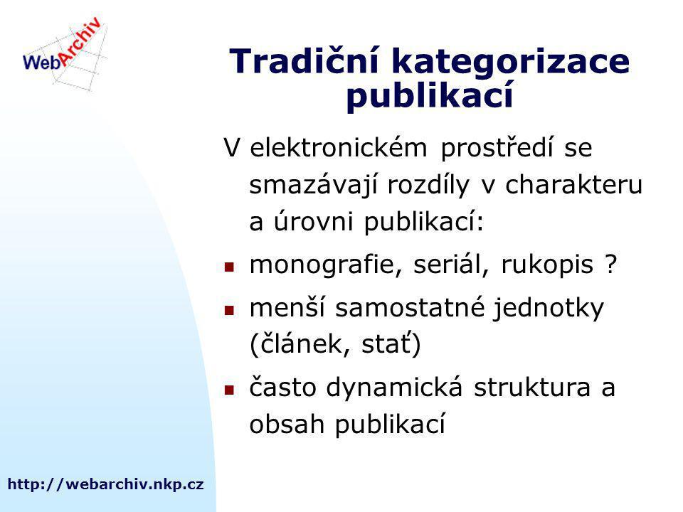 http://webarchiv.nkp.cz Tradiční kategorizace publikací V elektronickém prostředí se smazávají rozdíly v charakteru a úrovni publikací: monografie, seriál, rukopis .