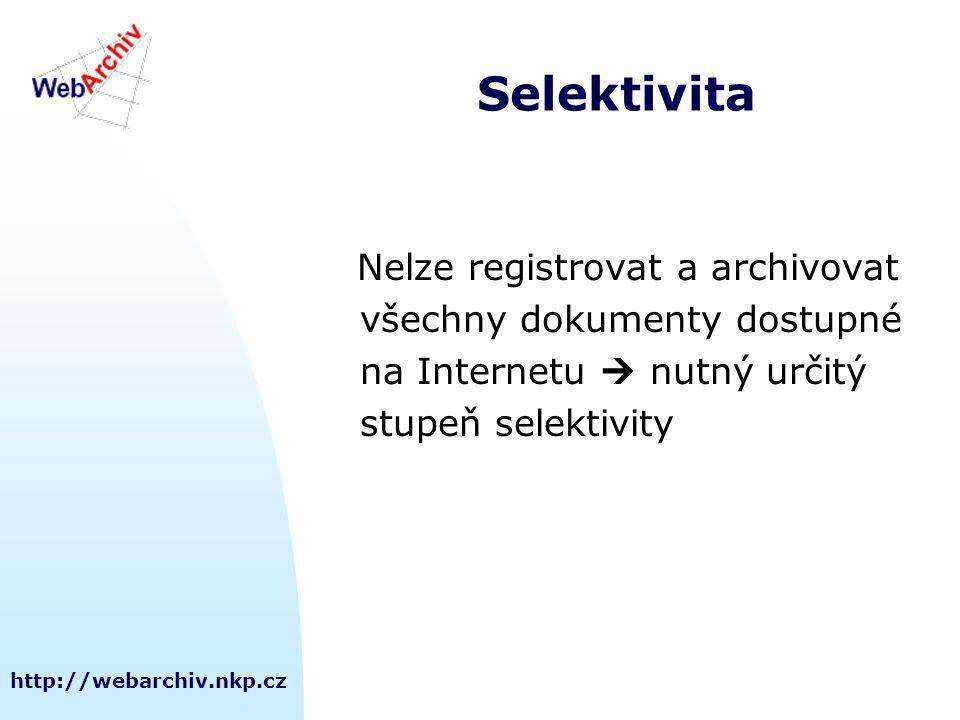 http://webarchiv.nkp.cz Selektivita Nelze registrovat a archivovat všechny dokumenty dostupné na Internetu  nutný určitý stupeň selektivity