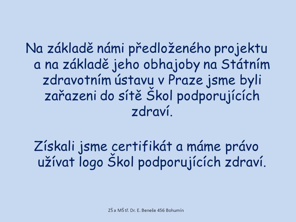 Na základě námi předloženého projektu a na základě jeho obhajoby na Státním zdravotním ústavu v Praze jsme byli zařazeni do sítě Škol podporujících zdraví.