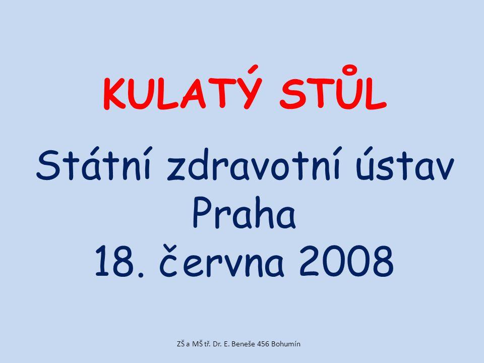 KULATÝ STŮL Státní zdravotní ústav Praha 18. června 2008 ZŠ a MŠ tř. Dr. E. Beneše 456 Bohumín