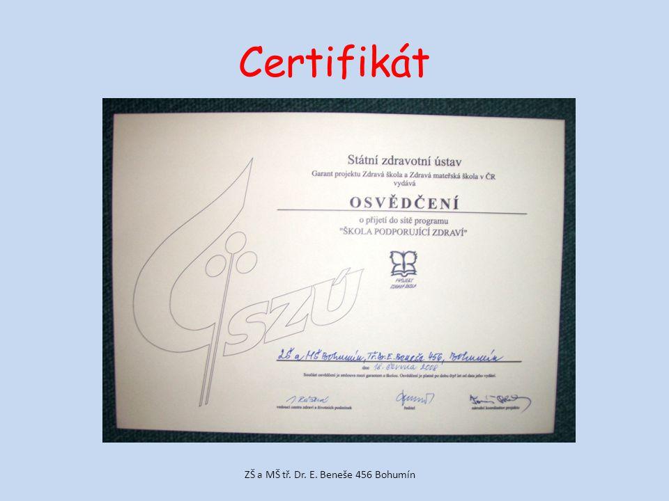 Certifikát ZŠ a MŠ tř. Dr. E. Beneše 456 Bohumín