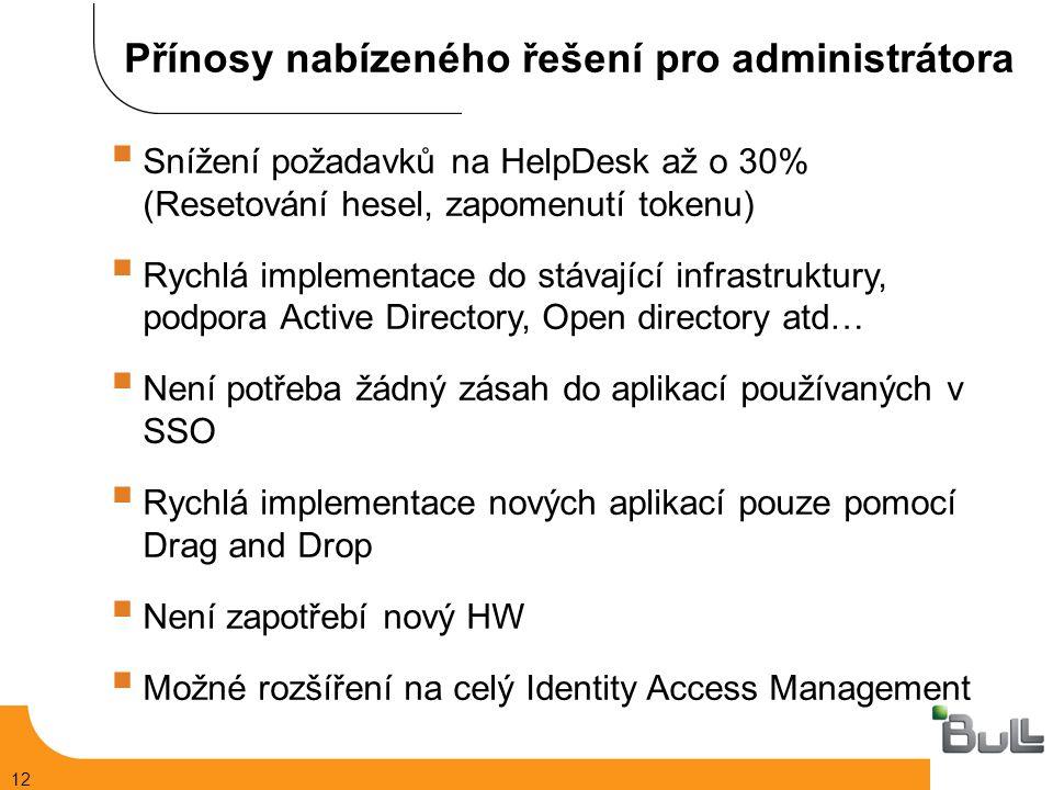 12  Snížení požadavků na HelpDesk až o 30% (Resetování hesel, zapomenutí tokenu)  Rychlá implementace do stávající infrastruktury, podpora Active Directory, Open directory atd…  Není potřeba žádný zásah do aplikací používaných v SSO  Rychlá implementace nových aplikací pouze pomocí Drag and Drop  Není zapotřebí nový HW  Možné rozšíření na celý Identity Access Management Přínosy nabízeného řešení pro administrátora