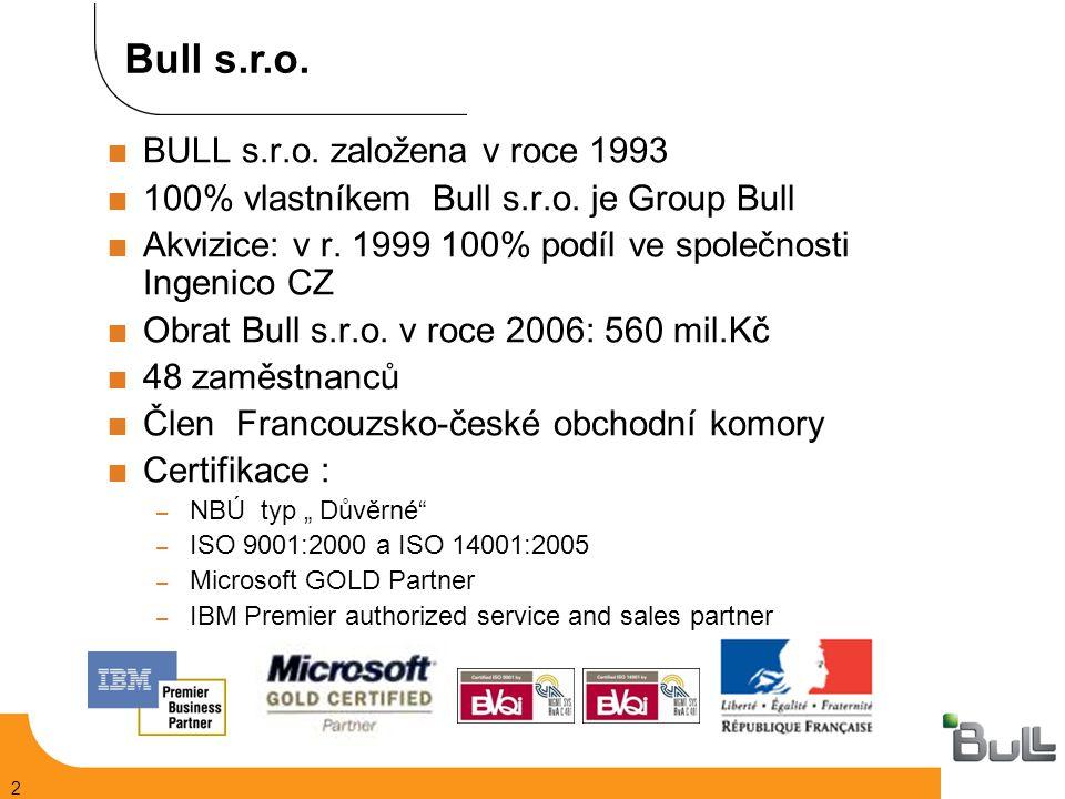2  BULL s.r.o. založena v roce 1993  100% vlastníkem Bull s.r.o.