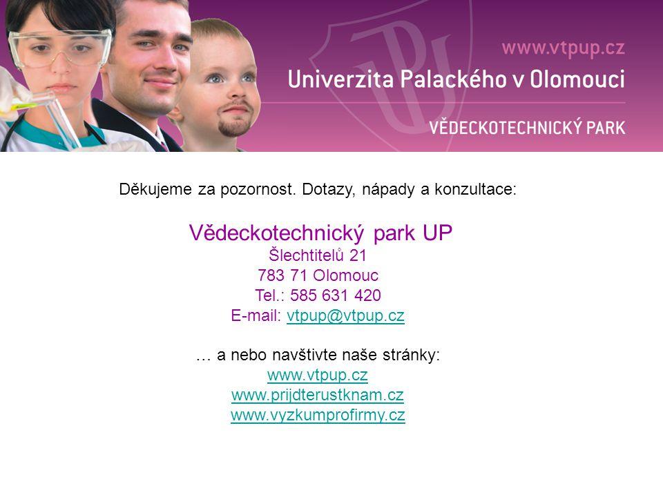 Děkujeme za pozornost. Dotazy, nápady a konzultace: Vědeckotechnický park UP Šlechtitelů 21 783 71 Olomouc Tel.: 585 631 420 E-mail: vtpup@vtpup.czvtp
