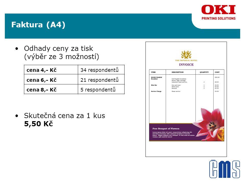 Faktura (A4) Odhady ceny za tisk (výběr ze 3 možností) Skutečná cena za 1 kus 5,50 Kč cena 4,- Kč34 respondentů cena 6,- Kč21 respondentů cena 8,- Kč5 respondentů