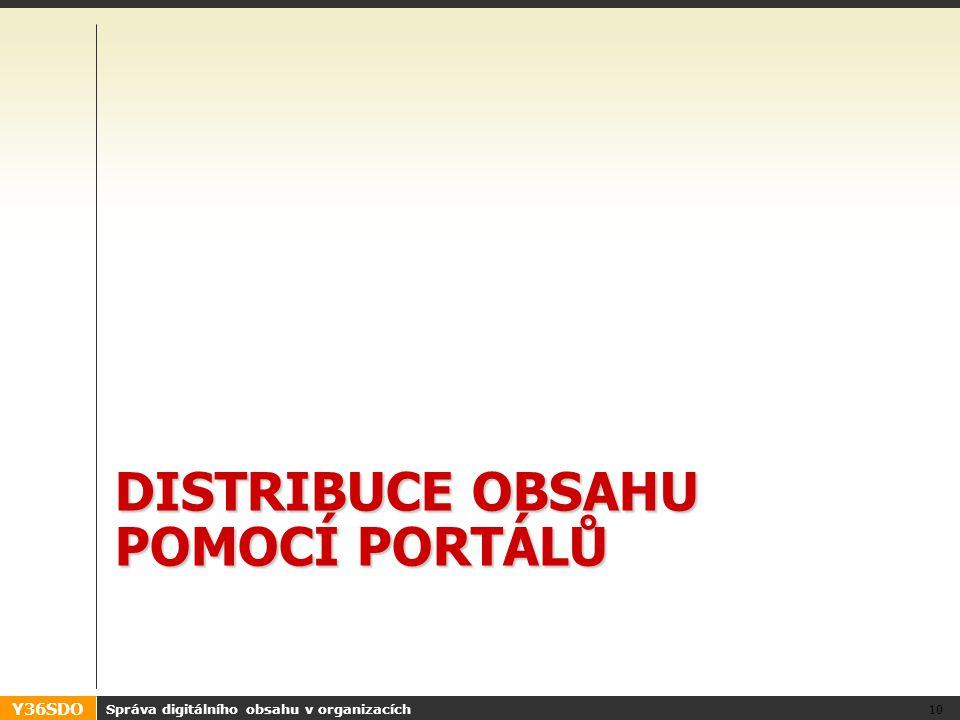 Y36SDO DISTRIBUCE OBSAHU POMOCÍ PORTÁLŮ Správa digitálního obsahu v organizacích 10