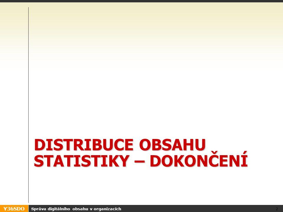Y36SDO DISTRIBUCE OBSAHU STATISTIKY – DOKONČENÍ Správa digitálního obsahu v organizacích 2