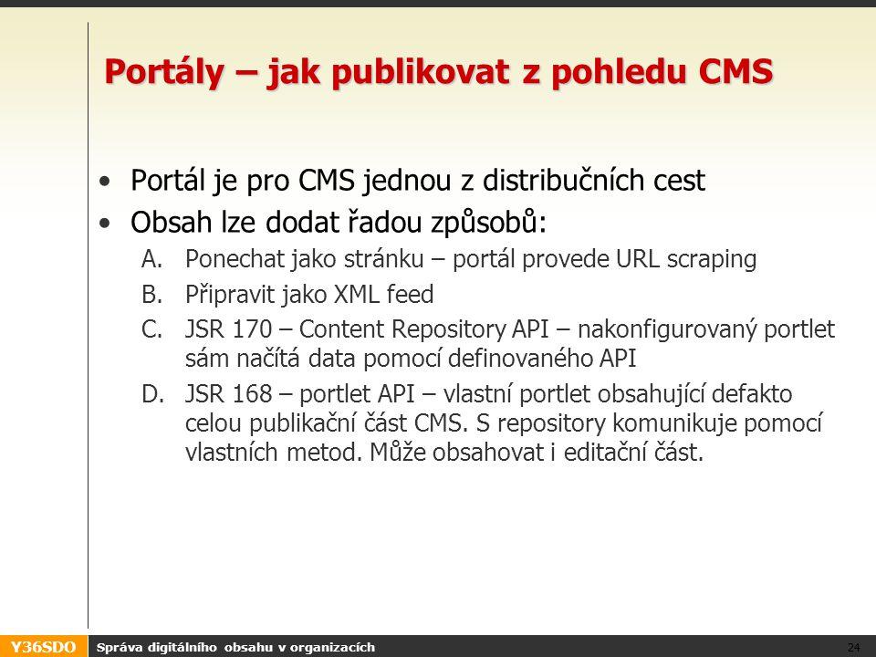 Y36SDO Správa digitálního obsahu v organizacích 24 Portály – jak publikovat z pohledu CMS Portál je pro CMS jednou z distribučních cest Obsah lze dodat řadou způsobů: A.Ponechat jako stránku – portál provede URL scraping B.Připravit jako XML feed C.JSR 170 – Content Repository API – nakonfigurovaný portlet sám načítá data pomocí definovaného API D.JSR 168 – portlet API – vlastní portlet obsahující defakto celou publikační část CMS.