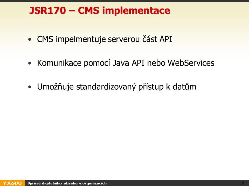 Y36SDO JSR170 – CMS implementace CMS impelmentuje serverou část API Komunikace pomocí Java API nebo WebServices Umožňuje standardizovaný přístup k datům Správa digitálního obsahu v organizacích 31