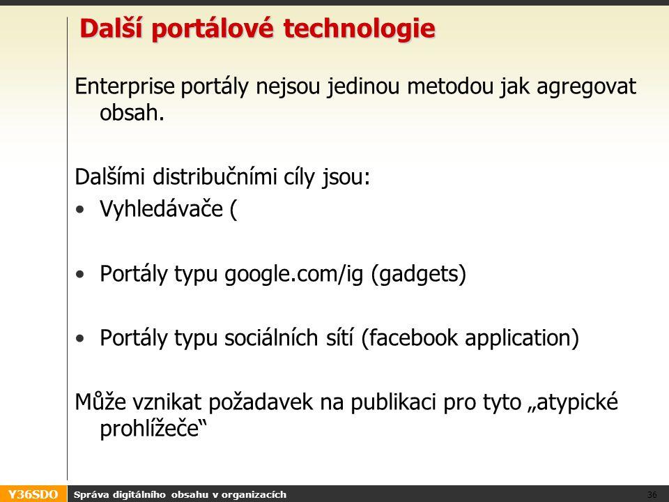 Y36SDO Další portálové technologie Enterprise portály nejsou jedinou metodou jak agregovat obsah.