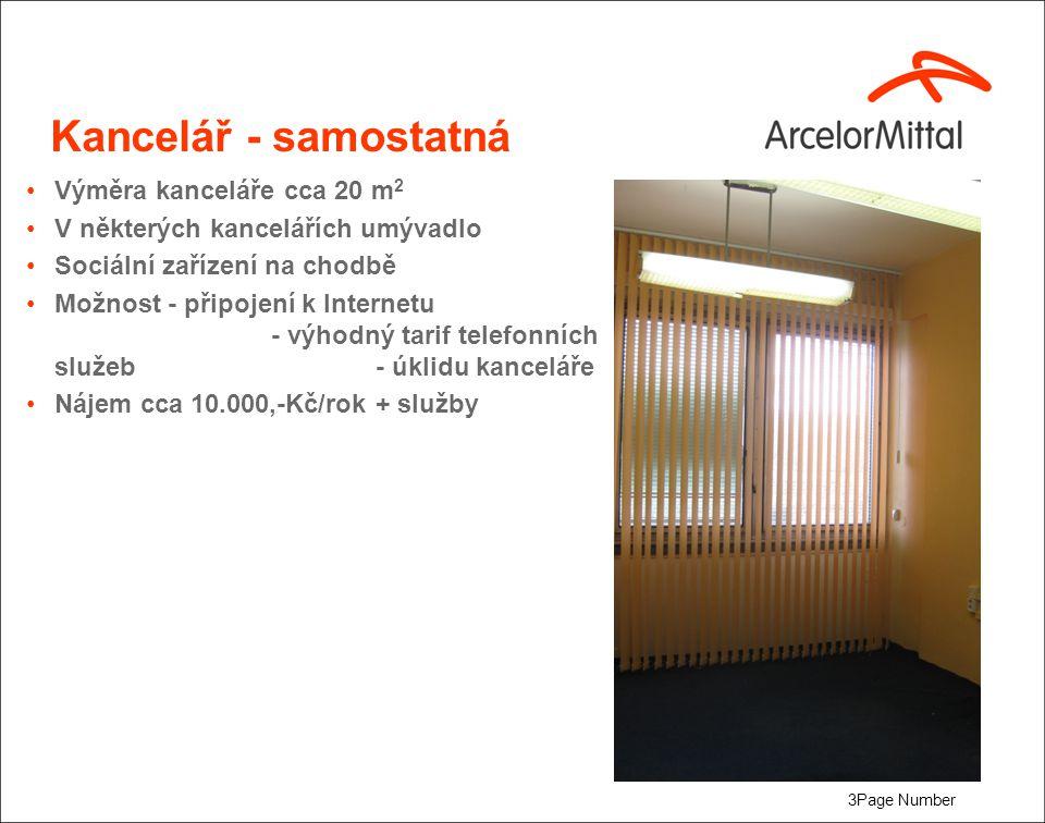3Page Number Kancelář - samostatná Výměra kanceláře cca 20 m 2 V některých kancelářích umývadlo Sociální zařízení na chodbě Možnost - připojení k Inte
