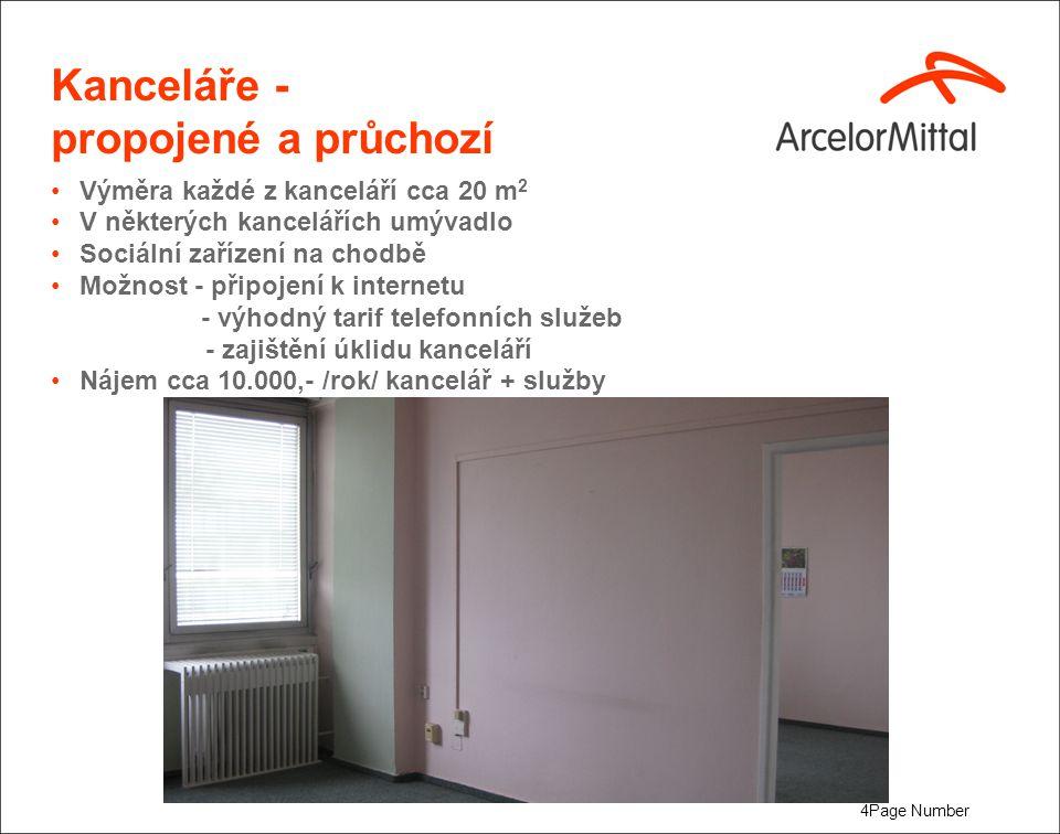 4Page Number Kanceláře - propojené a průchozí Výměra každé z kanceláří cca 20 m 2 V některých kancelářích umývadlo Sociální zařízení na chodbě Možnost