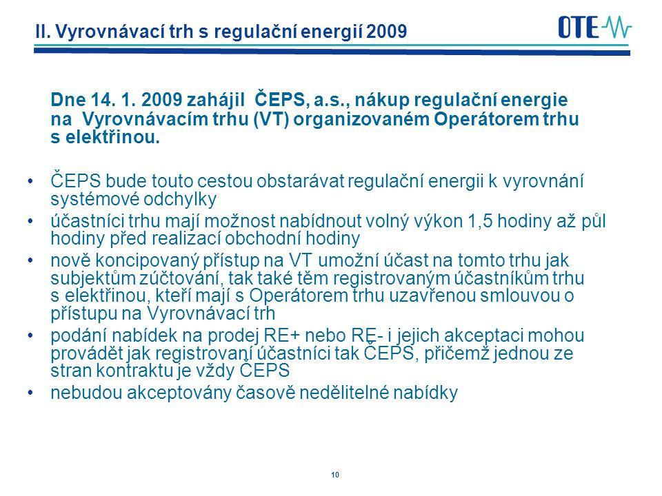 10 II. Vyrovnávací trh s regulační energií 2009 Dne 14. 1. 2009 zahájil ČEPS, a.s., nákup regulační energie na Vyrovnávacím trhu (VT) organizovaném Op
