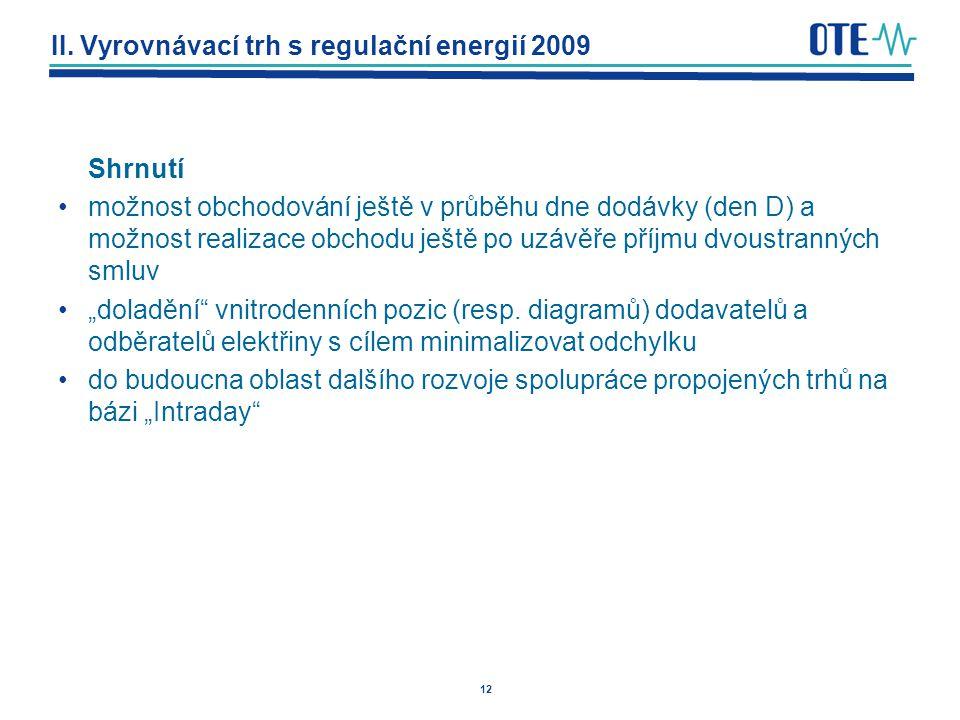 12 II. Vyrovnávací trh s regulační energií 2009 Shrnutí možnost obchodování ještě v průběhu dne dodávky (den D) a možnost realizace obchodu ještě po u