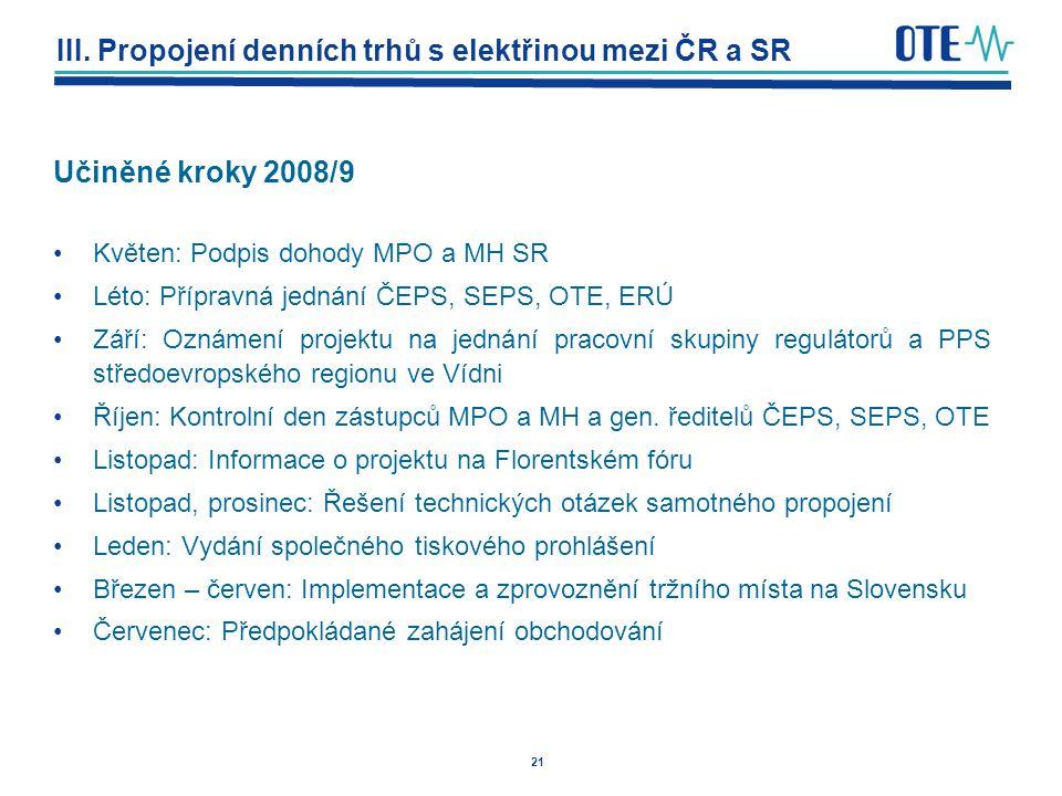 21 III. Propojení denních trhů s elektřinou mezi ČR a SR Učiněné kroky 2008/9 Květen: Podpis dohody MPO a MH SR Léto: Přípravná jednání ČEPS, SEPS, OT
