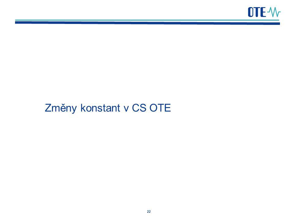 22 Změny konstant v CS OTE