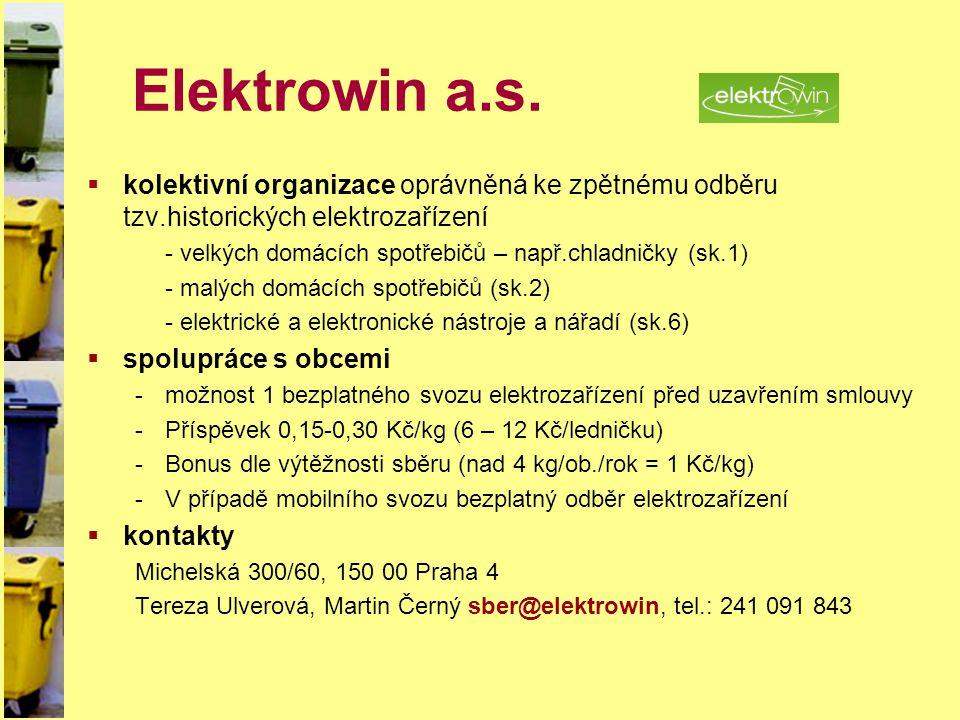 Elektrowin a.s.  kolektivní organizace oprávněná ke zpětnému odběru tzv.historických elektrozařízení - velkých domácích spotřebičů – např.chladničky