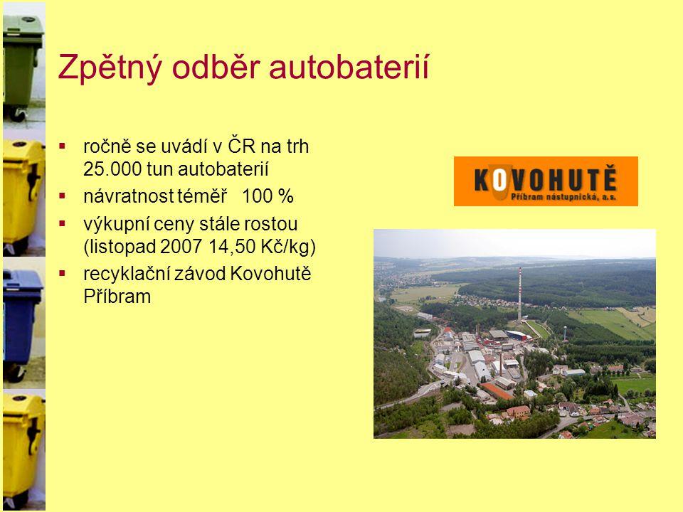 Zpětný odběr autobaterií  ročně se uvádí v ČR na trh 25.000 tun autobaterií  návratnost téměř 100 %  výkupní ceny stále rostou (listopad 2007 14,50