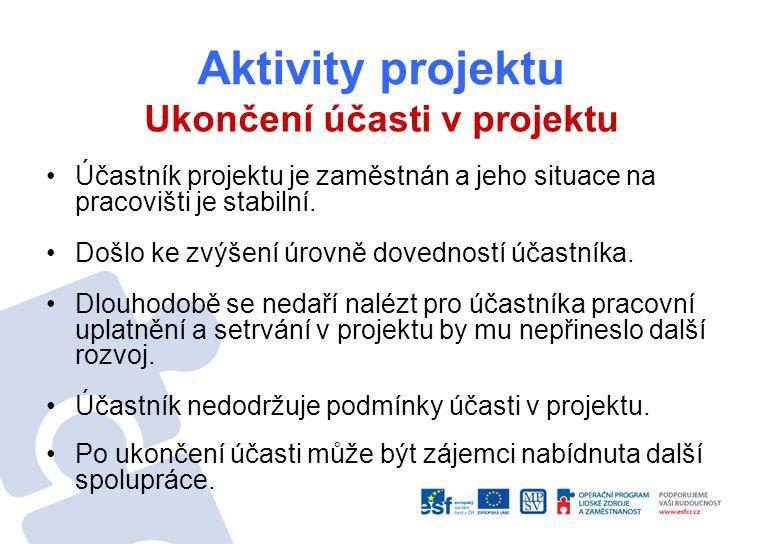 Aktivity projektu Ukončení účasti v projektu Účastník projektu je zaměstnán a jeho situace na pracovišti je stabilní.