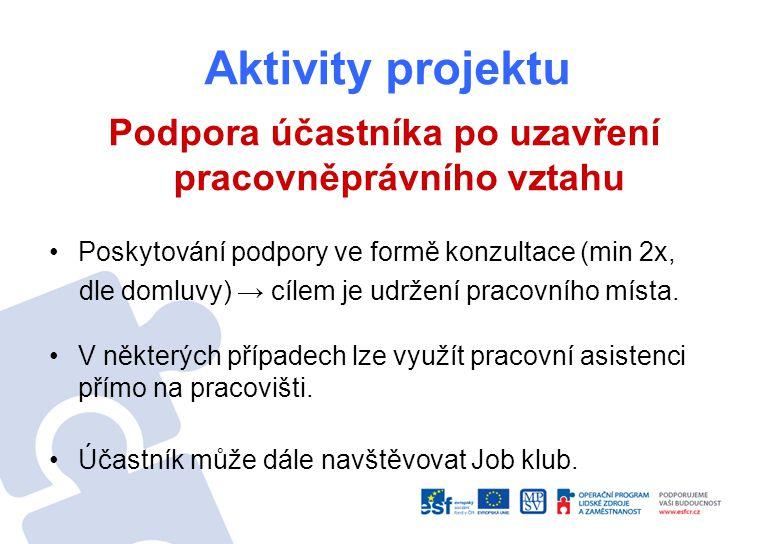 Aktivity projektu Podpora účastníka po uzavření pracovněprávního vztahu Poskytování podpory ve formě konzultace (min 2x, dle domluvy) → cílem je udržení pracovního místa.