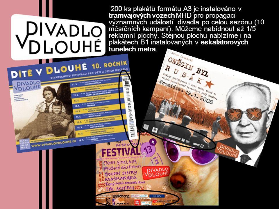 200 ks plakátů formátu A3 je instalováno v tramvajových vozech MHD pro propagaci významných událostí divadla po celou sezónu (10 měsíčních kampaní). M