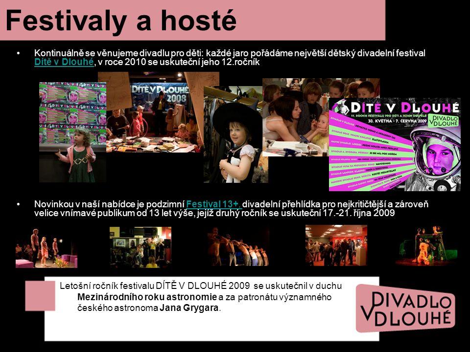 Festivaly a hosté Kontinuálně se věnujeme divadlu pro děti: každé jaro pořádáme největší dětský divadelní festival Dítě v Dlouhé, v roce 2010 se uskut