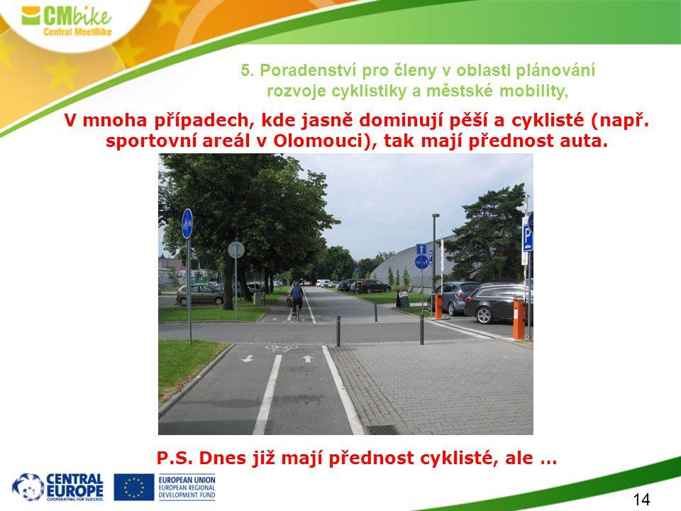 14 V mnoha případech, kde jasně dominují pěší a cyklisté (např. sportovní areál v Olomouci), tak mají přednost auta. P.S. Dnes již mají přednost cykli