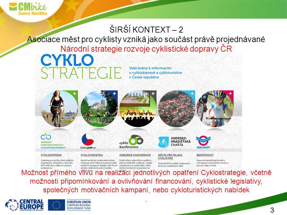3 ŠIRŠÍ KONTEXT – 2 Asociace měst pro cyklisty vzniká jako součást právě projednávané Národní strategie rozvoje cyklistické dopravy ČR Možnost přímého vlivu na realizaci jednotlivých opatření Cyklostrategie, včetně možnosti připomínkování a ovlivňování financování, cyklistické legislativy, společných motivačních kampaní, nebo cykloturistických nabídek.