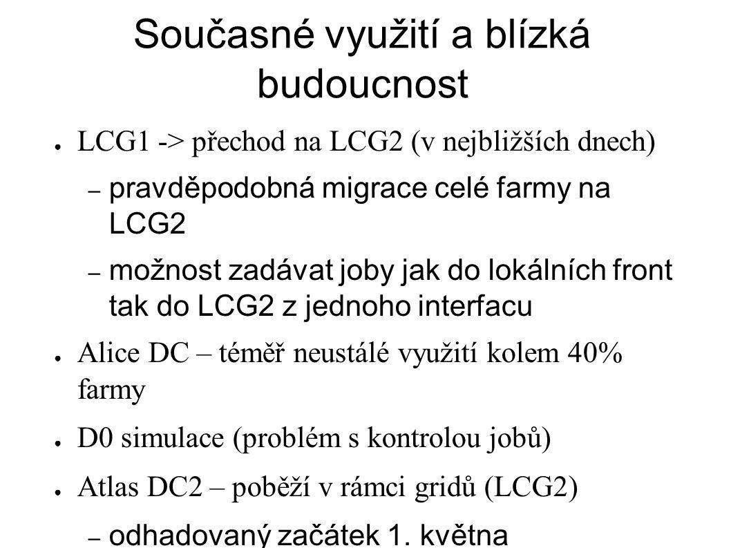 Současné využití a blízká budoucnost ● LCG1 -> přechod na LCG2 (v nejbližších dnech) – pravděpodobná migrace celé farmy na LCG2 – možnost zadávat joby jak do lokálních front tak do LCG2 z jednoho interfacu ● Alice DC – téměř neustálé využití kolem 40% farmy ● D0 simulace (problém s kontrolou jobů) ● Atlas DC2 – poběží v rámci gridů (LCG2) – odhadovaný začátek 1.