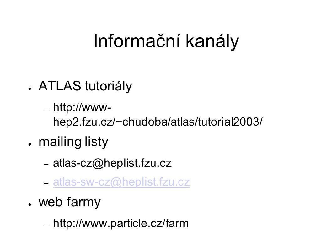 Informační kanály ● ATLAS tutoriály – http://www- hep2.fzu.cz/~chudoba/atlas/tutorial2003/ ● mailing listy – atlas-cz@heplist.fzu.cz – atlas-sw-cz@heplist.fzu.cz atlas-sw-cz@heplist.fzu.cz ● web farmy – http://www.particle.cz/farm