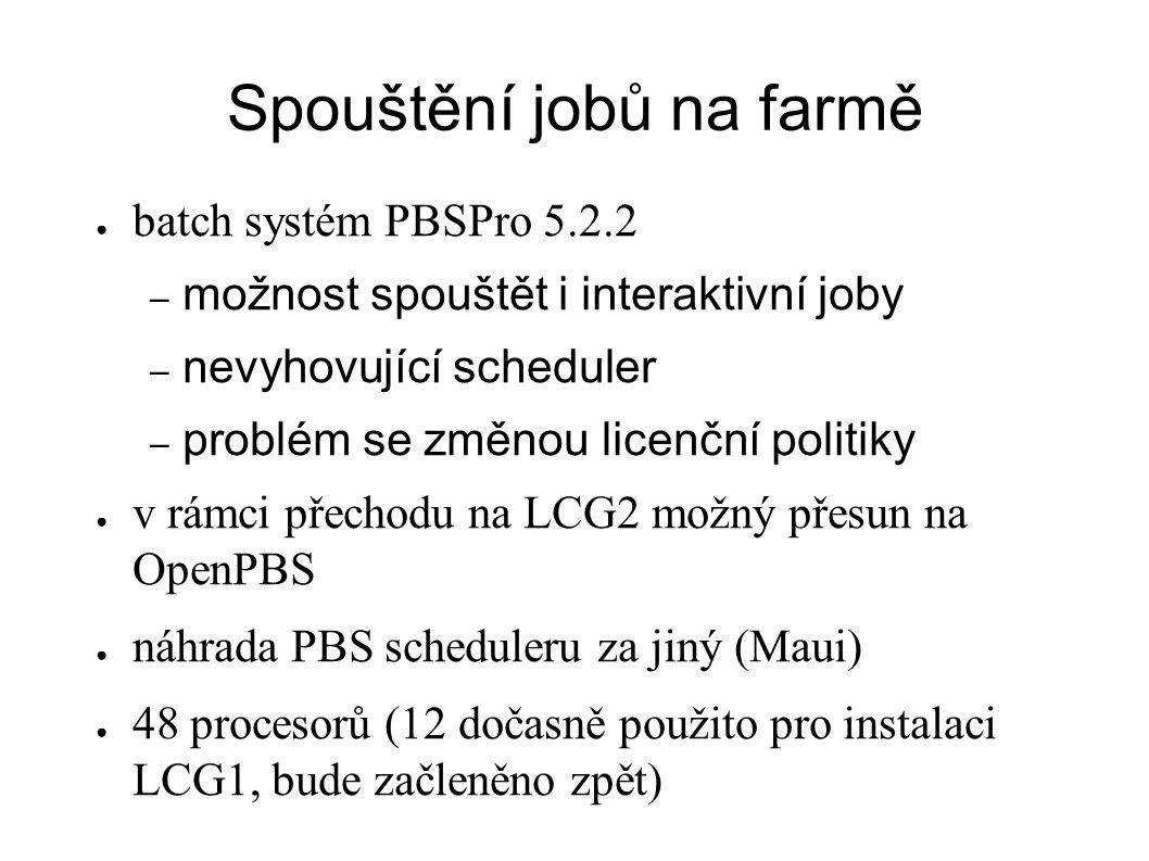 Spouštění jobů na farmě ● batch systém PBSPro 5.2.2 – možnost spouštět i interaktivní joby – nevyhovující scheduler – problém se změnou licenční politiky ● v rámci přechodu na LCG2 možný přesun na OpenPBS ● náhrada PBS scheduleru za jiný (Maui) ● 48 procesorů (12 dočasně použito pro instalaci LCG1, bude začleněno zpět)
