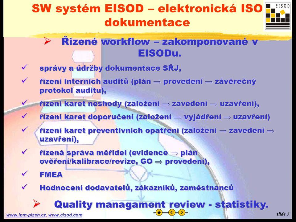 www.ipm-plzen.czwww.ipm-plzen.cz, www.eisod.comwww.eisod.com SW systém EISOD – elektronická ISO dokumentace  Řízené workflow – zakomponované v EISODu.